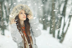Winter portrait of a girl outside Royalty Free Stock Photography