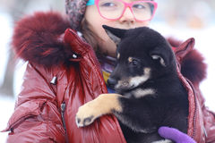 Winter portrait of a girl and puppy Stock Image