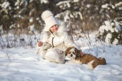 Winter portrait of a girl with a small dog of the Shih Tzu breed.  Stock Photography