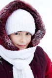 Winter portrait of the girl in the street Stock Photos