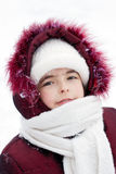 Winter portrait of the girl in the street Royalty Free Stock Photography