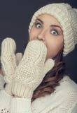 Winter portrait girl Stock Photos