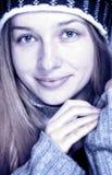 Winter portrait of happy cozy woman. Seasonal winter portrait of beautiful young woman stock photography
