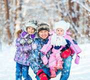 Winter portrait of happy family Royalty Free Stock Photo