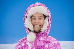 Winter portrait of happy little girl Royalty Free Stock Image