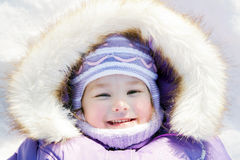 Winter portrait. Happy smiling baby Stock Images