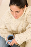 Winter portrait happy woman with cup of coffee Stock Image