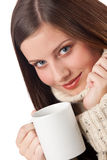 Winter portrait of happy woman holding cup of coff stock image