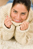 Winter portrait of happy woman wear pullover Royalty Free Stock Photos