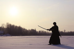 Winter portrait japanese ninja Stock Photos