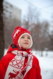 Winter portrait of kid boy in colorful clothes stock images