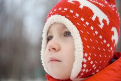 Winter portrait of kid boy in colorful clothes stock image