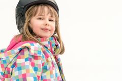 Happy young skier girl stock images