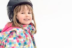 Happy young skier girl royalty free stock photography