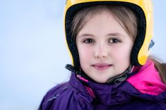 Young skier girl winter portrait royalty free stock image