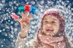 Winter portrait of little girl Stock Photos