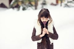Winter portrait of lovely child girl Royalty Free Stock Photos