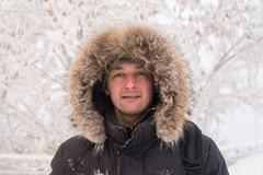 Winter portrait of a man Royalty Free Stock Photos