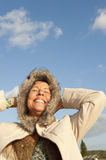 Winter Portrait mature woman Stock Photo