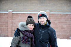 Winter Portrait Of A Young Couple Stock Images