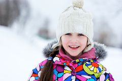 Winter Portrait Of Little Girl In Warm Clothes Royalty Free Stock Images