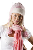 Winter portrait with pink scarf and hat Stock Photo