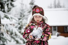 Winter portrait of playful child girl Stock Images