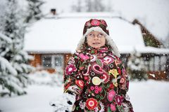 Winter portrait of playful child girl Stock Image