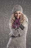 Winter portrait of a pretty blonde Stock Photo