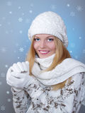 Winter portrait of a pretty girl Royalty Free Stock Photography