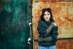 Winter portrait of a pretty girl without outerwear. Cold season. Winter portrait of a pretty girl without outerwear Royalty Free Stock Photo