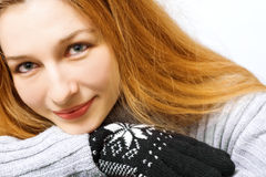 Winter portrait - pretty woman with gloves Stock Image