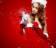 Winter portrait of a santa woman Royalty Free Stock Images