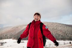 Winter portrait of senior mature woman Stock Images