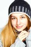Winter portrait of sensual smiling calm woman Stock Photography