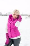 Winter portrait of sexy girl Stock Photos