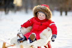 Winter portrait of toddler. Winter portrait of beautiful toddler boy Stock Photography