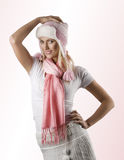 Winter Portrait With Pink Scarf And Hat Royalty Free Stock Photos