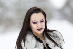 Winter portrait with a woman. With colored eyes Royalty Free Stock Photos