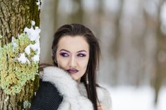 Winter portrait with a woman. With colored eyes Royalty Free Stock Photography