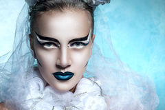 Winter portrait of a woman with creative makeup. Snowy beauty. Flawless makeup, perfect shape. Cold beauty Stock Image