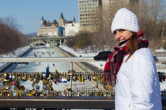 Winter portrait of a woman at the Ottawa Rideau Canal with love Royalty Free Stock Images