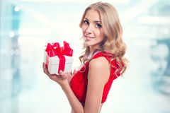 Winter portrait of woman in santa claus clothes Stock Images