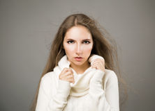 Winter Portrait of Woman in White Cashmere Sweater Stock Photo