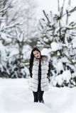 Winter portrait with a woman. With colored eyes Royalty Free Stock Image