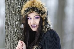 Winter portrait with a woman. With colored eyes Stock Photos
