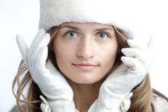 Winter portrait of the youg woman Royalty Free Stock Photo