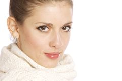 Winter portrait of the youg woman Royalty Free Stock Images