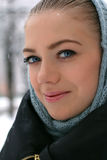 Winter portrait of young beautiful girl Stock Photography