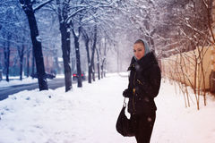Winter portrait of young beautiful girl Royalty Free Stock Images